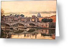 River Tiber In Rome Greeting Card
