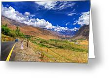 Road And Mountains Of Leh Ladakh Jammu And Kashmir India Greeting Card