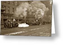 Steam Pumper Rochester Show Case Co. Fire Circa 1890s Greeting Card