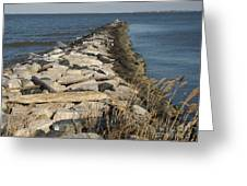 Rock Jetty At Sandy Point Greeting Card