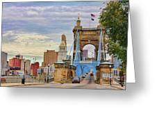 Roebling Bridge 9872 Greeting Card