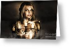 Romantic Blonde Woman Holding The Light Of Love Greeting Card