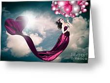 Romantic Girl In Love With Beauty And Fashion Greeting Card