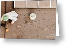 Roofer Using Propane Torch To Repair Flat Roof Greeting Card