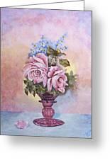 Roses In Ruby Vase Greeting Card