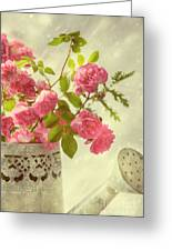 Roses In Watering Can Greeting Card