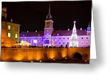 Royal Castle In Warsaw At Night Greeting Card