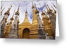 Ruined Pagodas At Shwe Inn Thein Paya Greeting Card