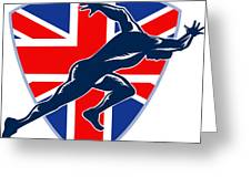 Runner Sprinter Start British Flag Shield Greeting Card