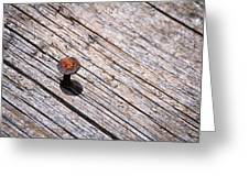 Rusty Nail In An Old Wooden Board Greeting Card