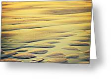 Rythm On Sand With Wave On Sea Coast At Sunset Color Greeting Card