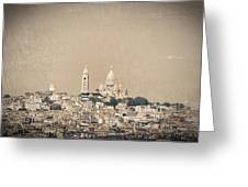 Sacre Coeur Basilica Of Montmartre In Paris Greeting Card