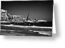 Salou Waterfront Properties And The Els Pilons Sculpture On The Costa Dorada Catalonia Spain Greeting Card