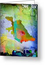 San Jose Map And Skyline Greeting Card