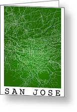 San Jose Street Map - San Jose Costa Rica Road Map Art On Colore Greeting Card