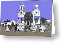San Xavier Mission Sketched By Art Students C. 1930 Tucson Arizona Greeting Card