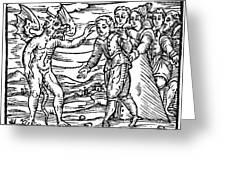 Satan & Sorcerer, 1626 Greeting Card