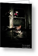 Scary Clown Clawing Window Greeting Card