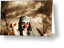 Scary Clown Doctor Throwing Knives Outdoors Greeting Card