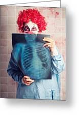 Scary Clown Peeking Behind X-ray. Funny Bones Greeting Card