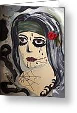 Scary Girl Greeting Card by Karen Carnow