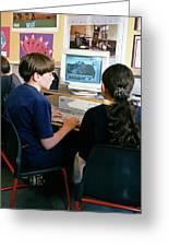 Schoolchildren Working Greeting Card