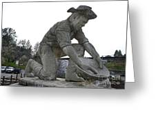 Scuplture Of Gold Rush Miner Claude Chana Greeting Card