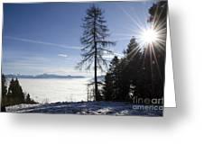 Sea Of Fog Over An Alpine Lake Greeting Card