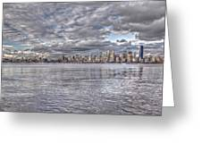 Seattle Cityscape In Clouds Greeting Card