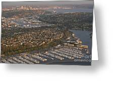 Seattle Skyline With Shilshole Marina Along The Puget Sound  Greeting Card