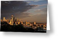 Seattle Skyline With Space Needle And Stormy Weather With Mount  Greeting Card