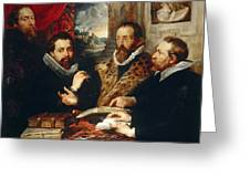 Selfportrait With Brother Philipp Justus Lipsius And Another Scholar Greeting Card