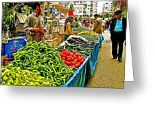 Selling Fresh Vegetables In Antalya Market-turkey Greeting Card