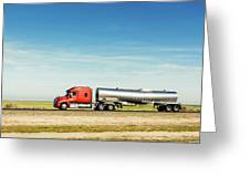 Semi Truck Moving On The Highway Greeting Card