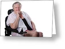 Senior Woman In Wheel Chair Greeting Card