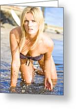 Sensuous Woman Playing With Water Greeting Card