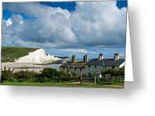 Seven Sisters Cliffs And Coastguard Cottages Greeting Card
