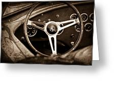 Shelby Ac Cobra Steering Wheel Emblem Greeting Card