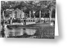 Shem Creek In Black And White Greeting Card