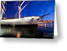 Ship At Night In Stockholm Greeting Card