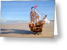 Ship Model On Summer Sunny Beach Greeting Card by Michal Bednarek