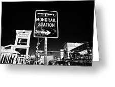 signpost for Las Vegas monorail station on las vegas boulevard Nevada USA Greeting Card