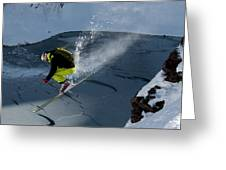 Skier Jumping On A Sunny Day Greeting Card