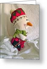Skiing Snowman Greeting Card