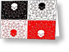 Skull Black Red White Pattern Background Greeting Card