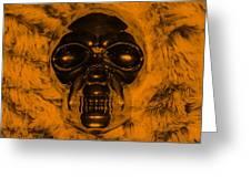 Skull In Orange Greeting Card
