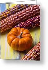 Small Pumpkin And Indian Corn Greeting Card