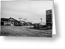 small roadside esso service gas station leader Saskatchewan Canada Greeting Card