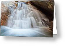 Small Waterfall Casdcading Over Rocks In Blue Pond Greeting Card