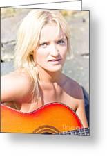 Smiling Female Guitarist Greeting Card
